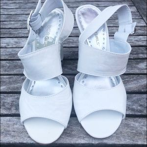 3 for $45 BCBG White Patent Leather Sandals